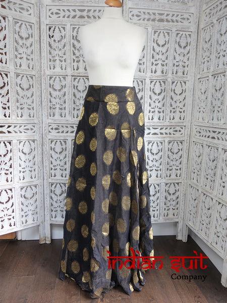 "Charcoal black / inky blue metallic short lengha skirt - waist size 34"" - new"
