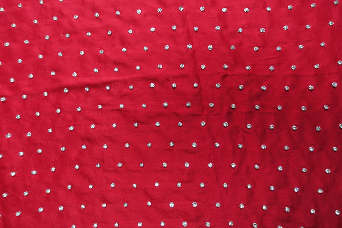 Red Silk Indian Embellished Diamante Wedding Table Decor Cloth - Indian Suit Company