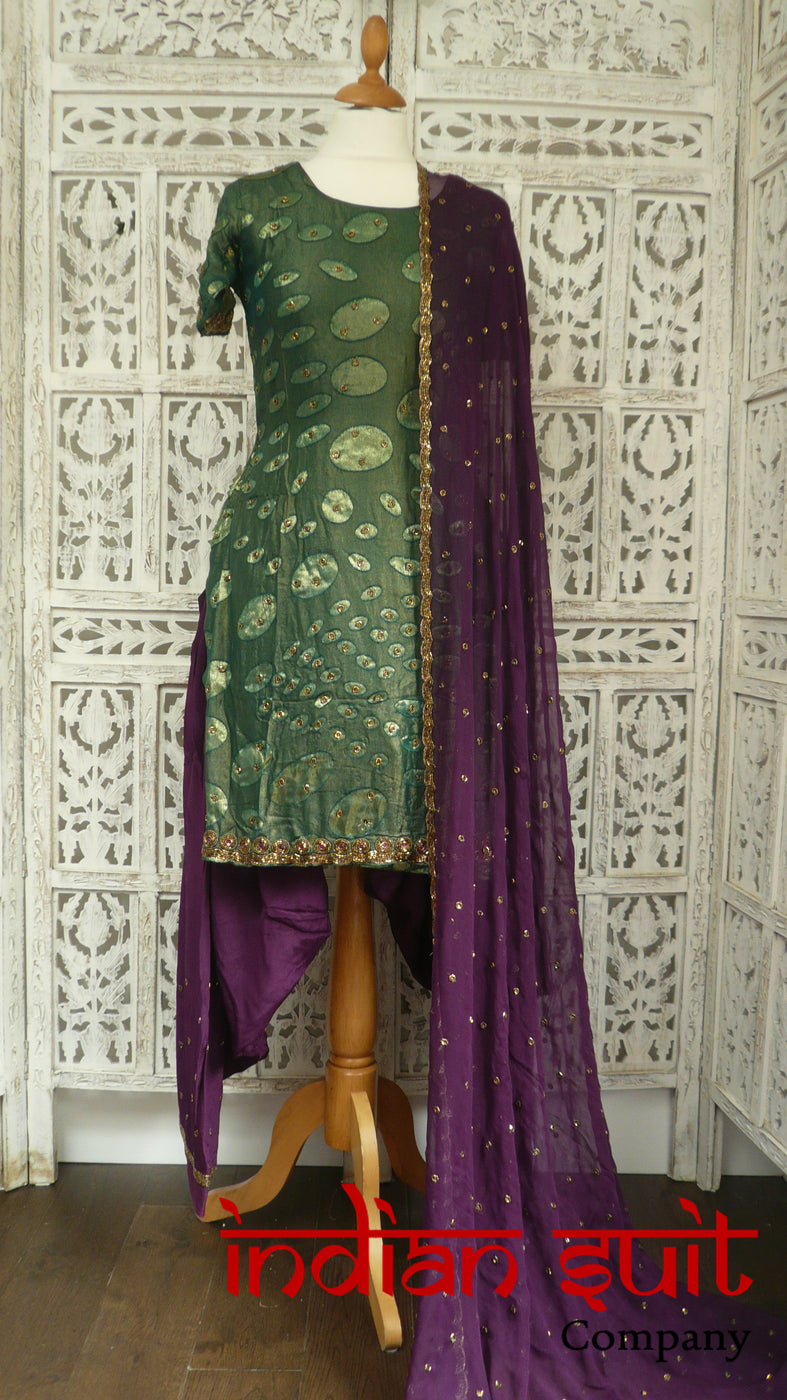 Green & Purple Devore Chiffon Salwar Kameez - UK Size 10 / EU 36 - Preloved - Indian Suit Company