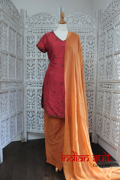 Burnt Orange & Salmon Silk Salwar Kameez UK 12 / EU 38 - Preloved - Indian Suit Company