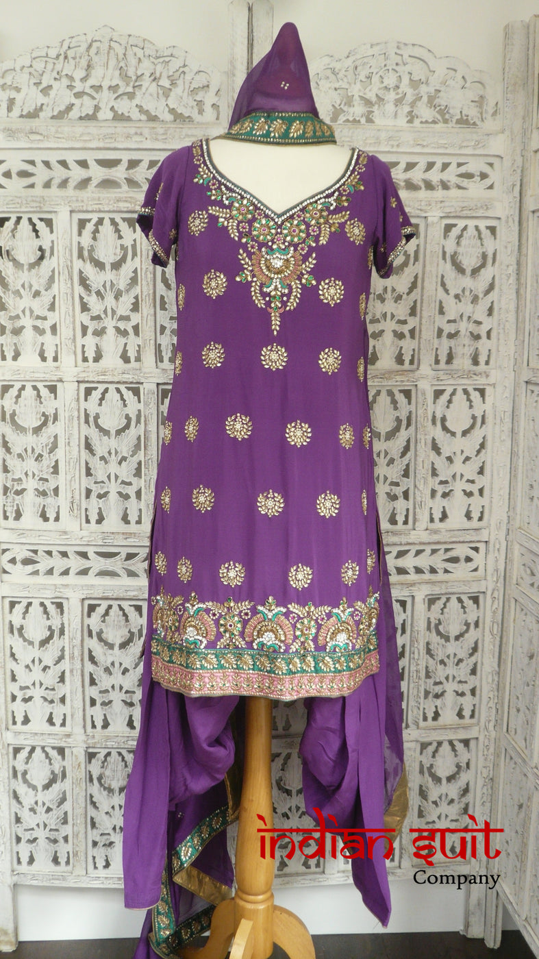 Purple Heavy Silk Salwar Kameez - UK Size 10 / EU 36 - Preloved - Indian Suit Company