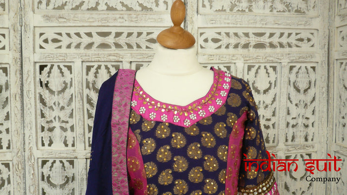 Purple Banarsi & Pink Silk Salwar Kameez - UK Size 6 / EU 32 - Preloved - Indian Suit Company