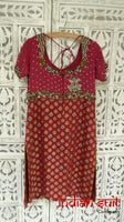 Pink Brocade & Silk Salwar Kameez - UK Size 8 / EU 34 - Preloved