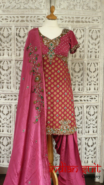 Pink brocade & silk salwar kameez - UK Size 8 /EU Size 34 - preloved