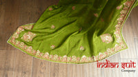 Red Banarsi Brocade And Mehndi Green Silk Salwar Kameez - UK 10  / EU 36,  - Preloved - Indian Suit Company