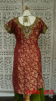 Red Banarsi Brocade And Mehndi Green Silk Salwar Kameez - UK Size 10 / EU  36 - Preloved