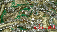 Green Banarsi Diamante Brocade & Pink Silk Salwar - UK 10  / EU 36,  - New - Indian Suit Company