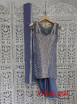 Grey silk salwar suit encrusted with diamantes – UK Size 4/EU Size 30 - preloved