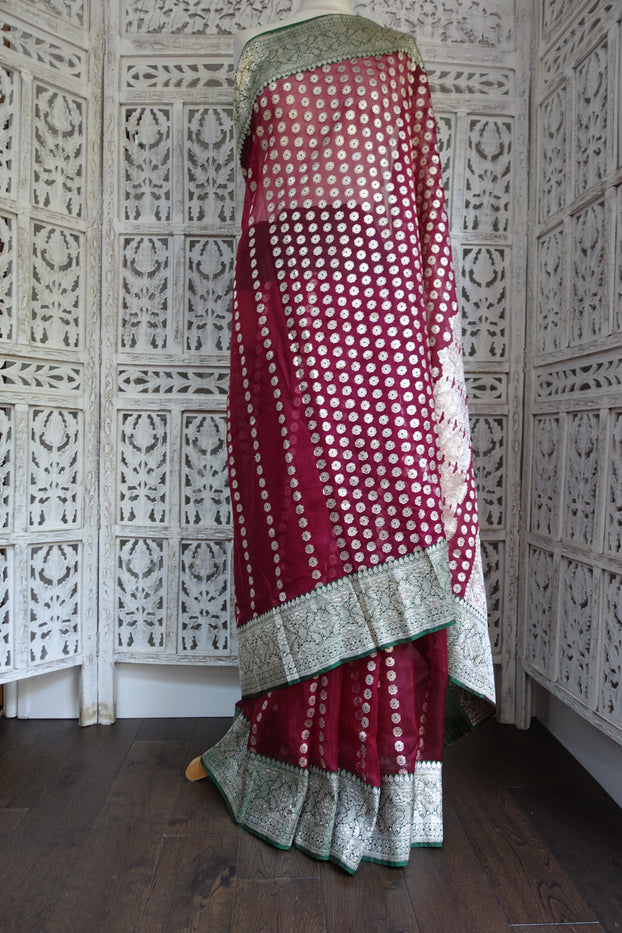 Dark Red Silk Voile Banarsi Vintage Sari - Preloved - Indian Suit Company