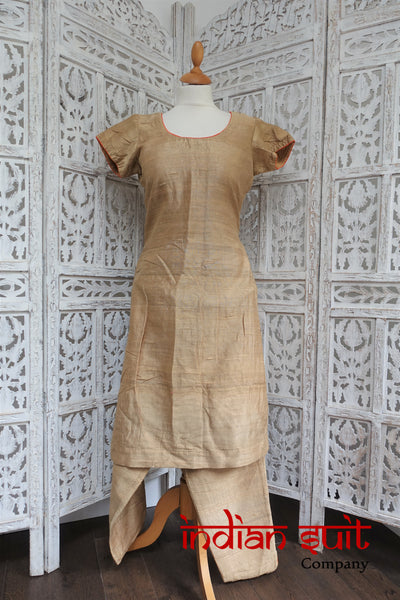Gold Raw Silk Capri Touser Indian Suit- UK Size 10 / EU 36 - Preloved - Indian Suit Company