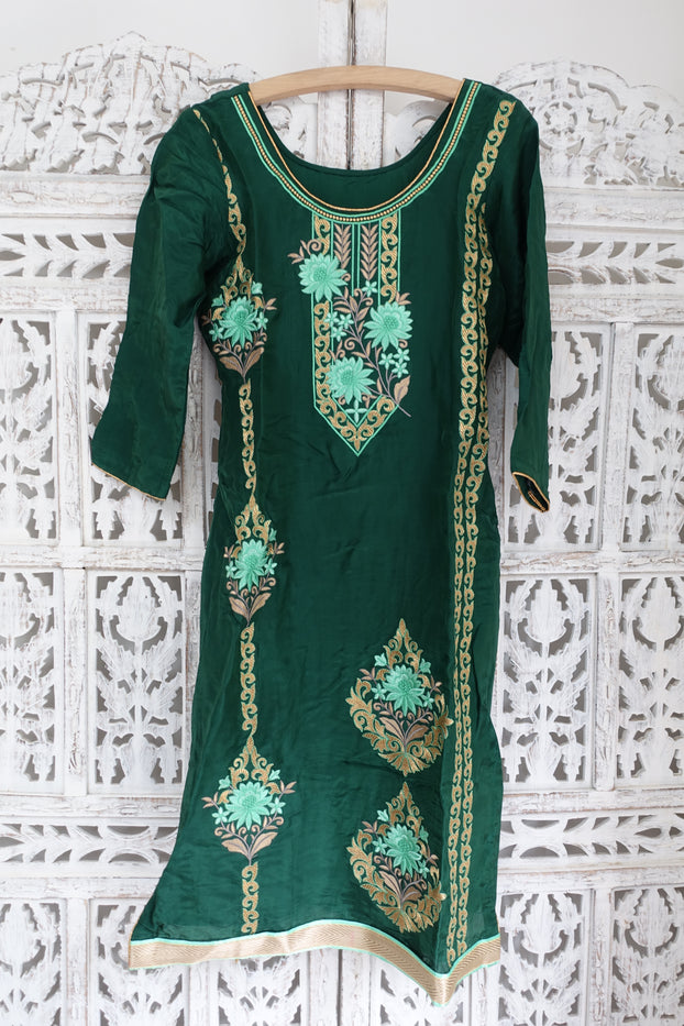 Dark Green Crepe Silk Capri Trouser Suit, UK 8 / EU 34 New - Indian Suit Company
