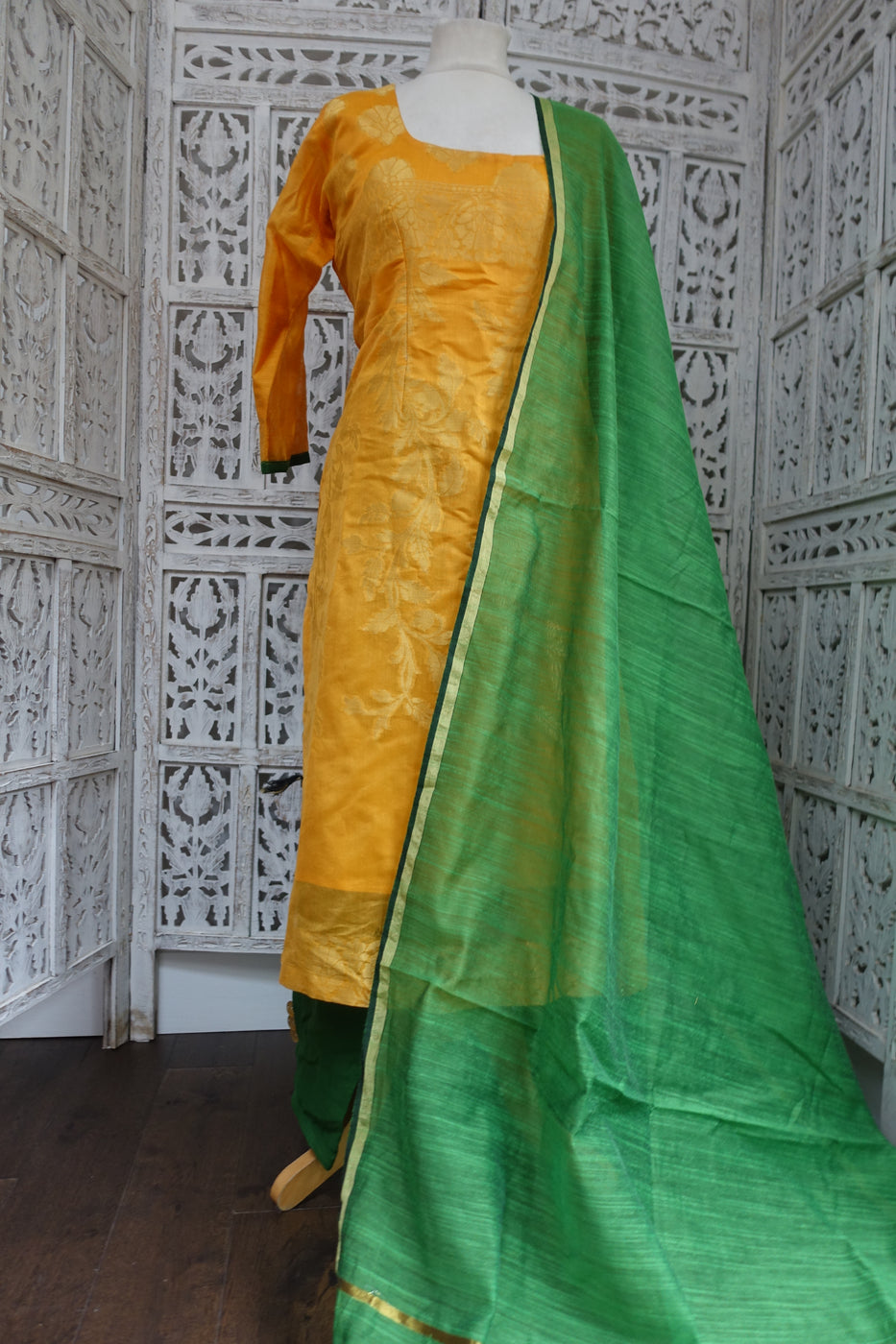 Yellow & Green Cotton Silk Trouser Suit - UK 14 / EU 40 - Preloved - Indian Suit Company
