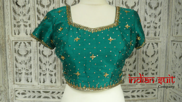 Jade Green Raw Silk Sari Blouse - UK 10 / EU 36 - Preloved - Indian Suit Company