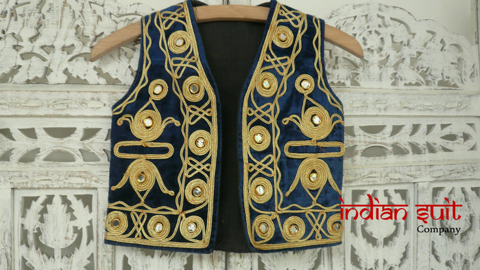 Blue Velvet Punjabi Children Jacket - UK Size Xs - New - Indian Suit Company