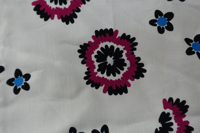 White Floral Print Fabric - Indian Suit Company