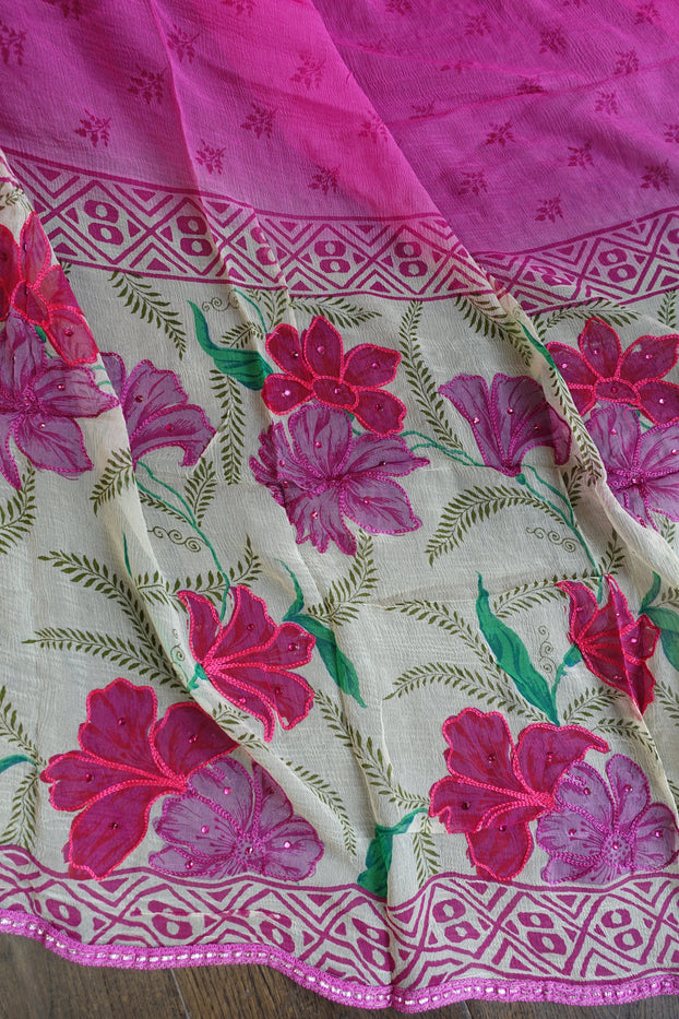 Pink Floral Cotton Silk Blend Unstitched Suit - New - Indian Suit Company