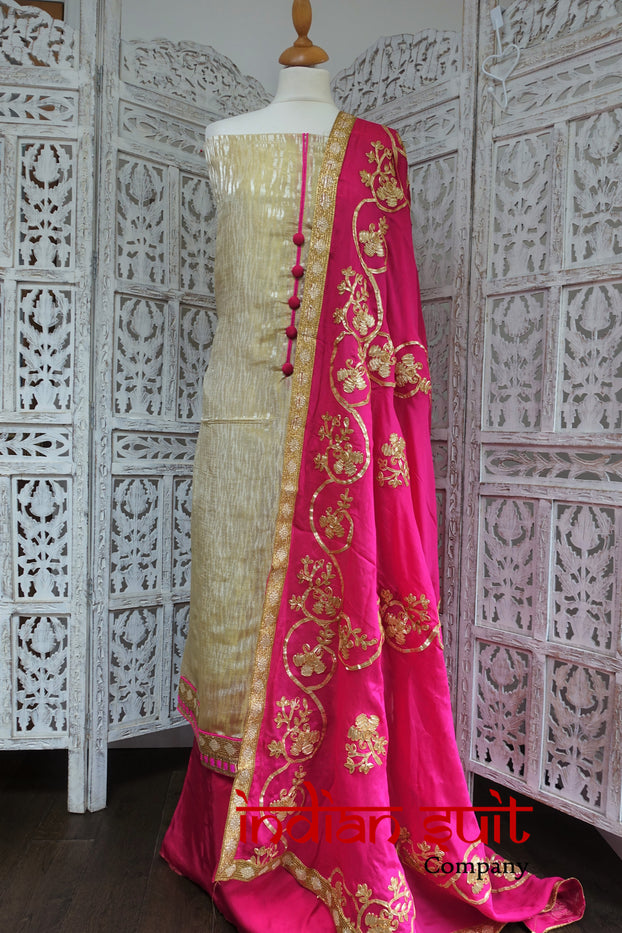 Cream & Pink Unstitched Suit Fabric - New - Indian Suit Company