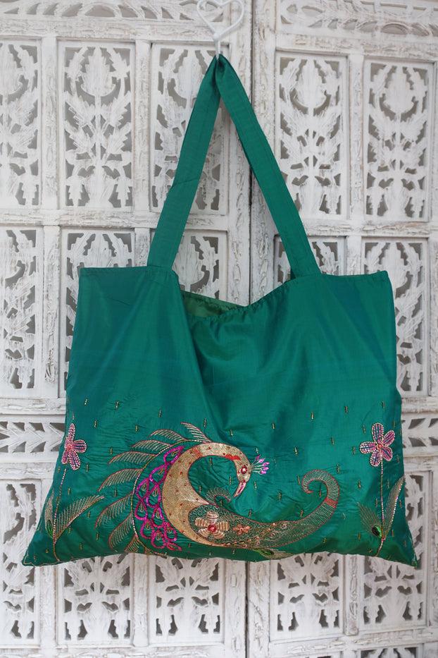 Jade Vintage Pure Silk Peacock Tote Bag - New - Indian Suit Company