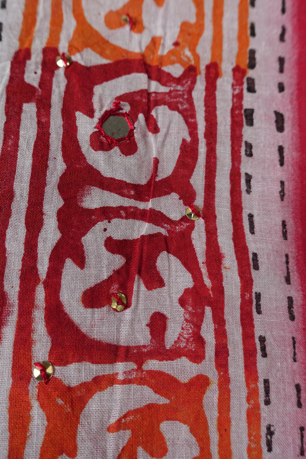 White Red Printed Cotton Tote Bag - New - Indian Suit Company