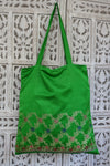 Bg16756 Green Sateen Silk Vintage Tote    Wip    Wip - Indian Suit Company