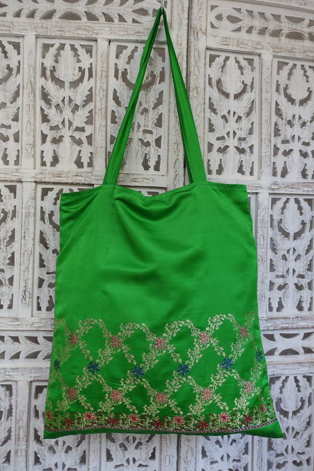Green Sateen Silk Vintage Tote Bag - New - Indian Suit Company