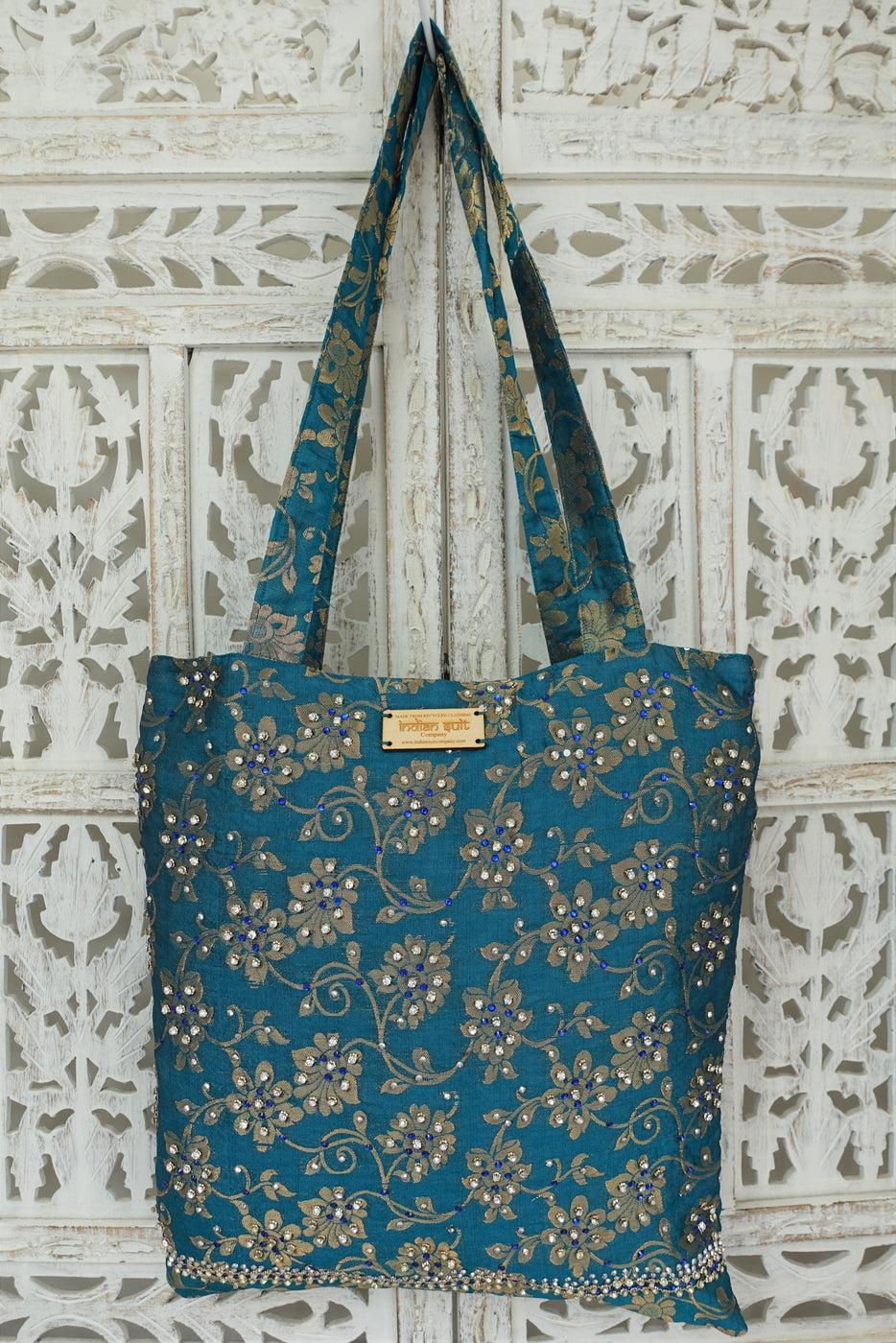 Teal tote bag with diamante stones - New - Indian Suit Company