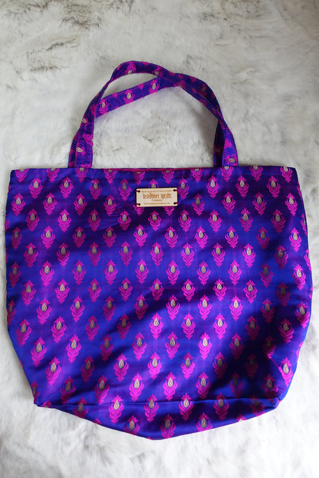 Pink & Purple Vintage Pure Banarsi Silk Bag - New - Indian Suit Company