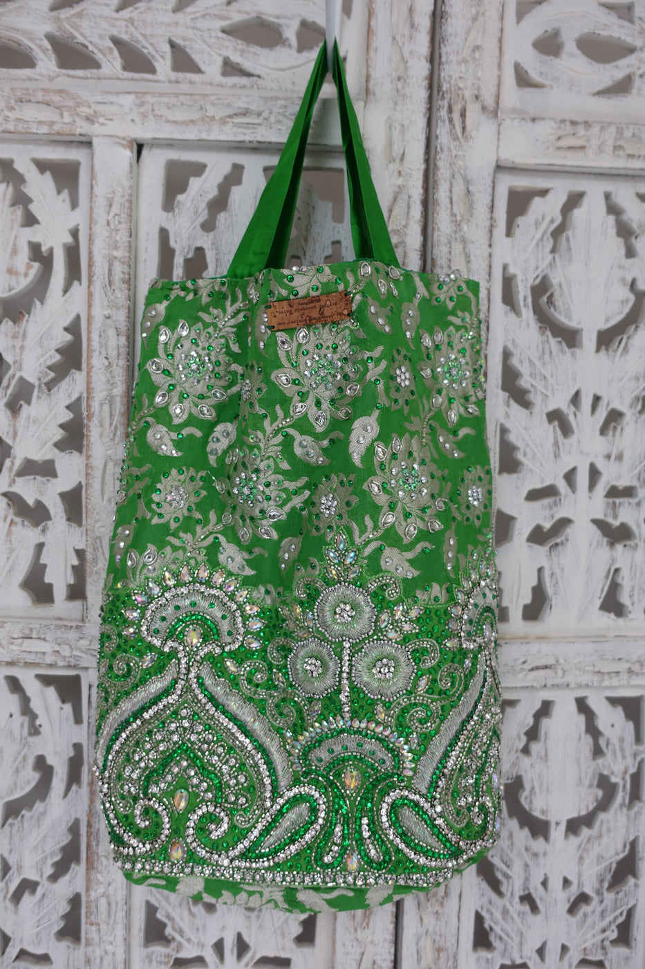 Bright Green Diamante Studded Bag - New - Indian Suit Company