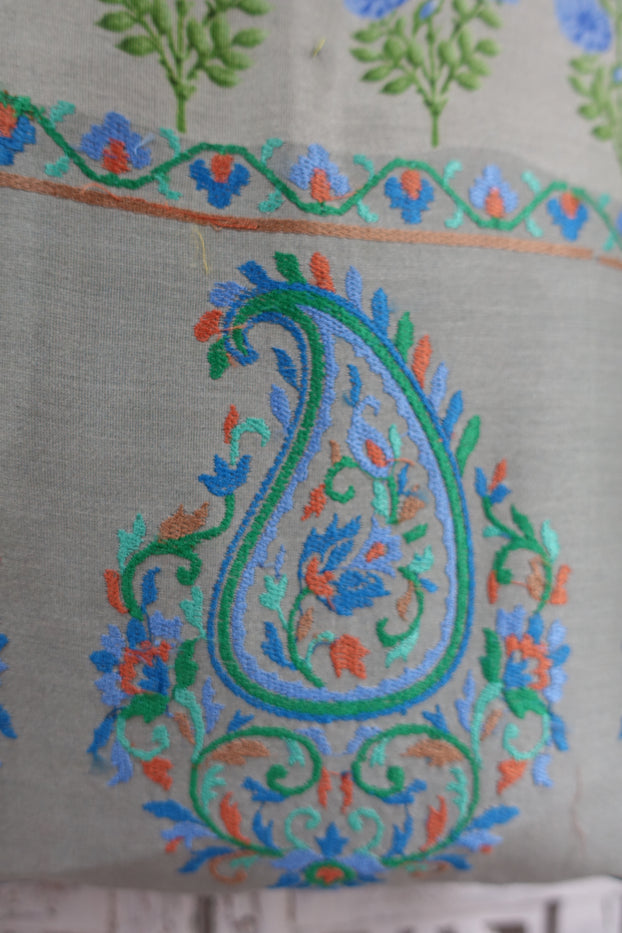 Pastel Cotton Silk Embroidered Paisley Tote Bag - Indian Suit Company