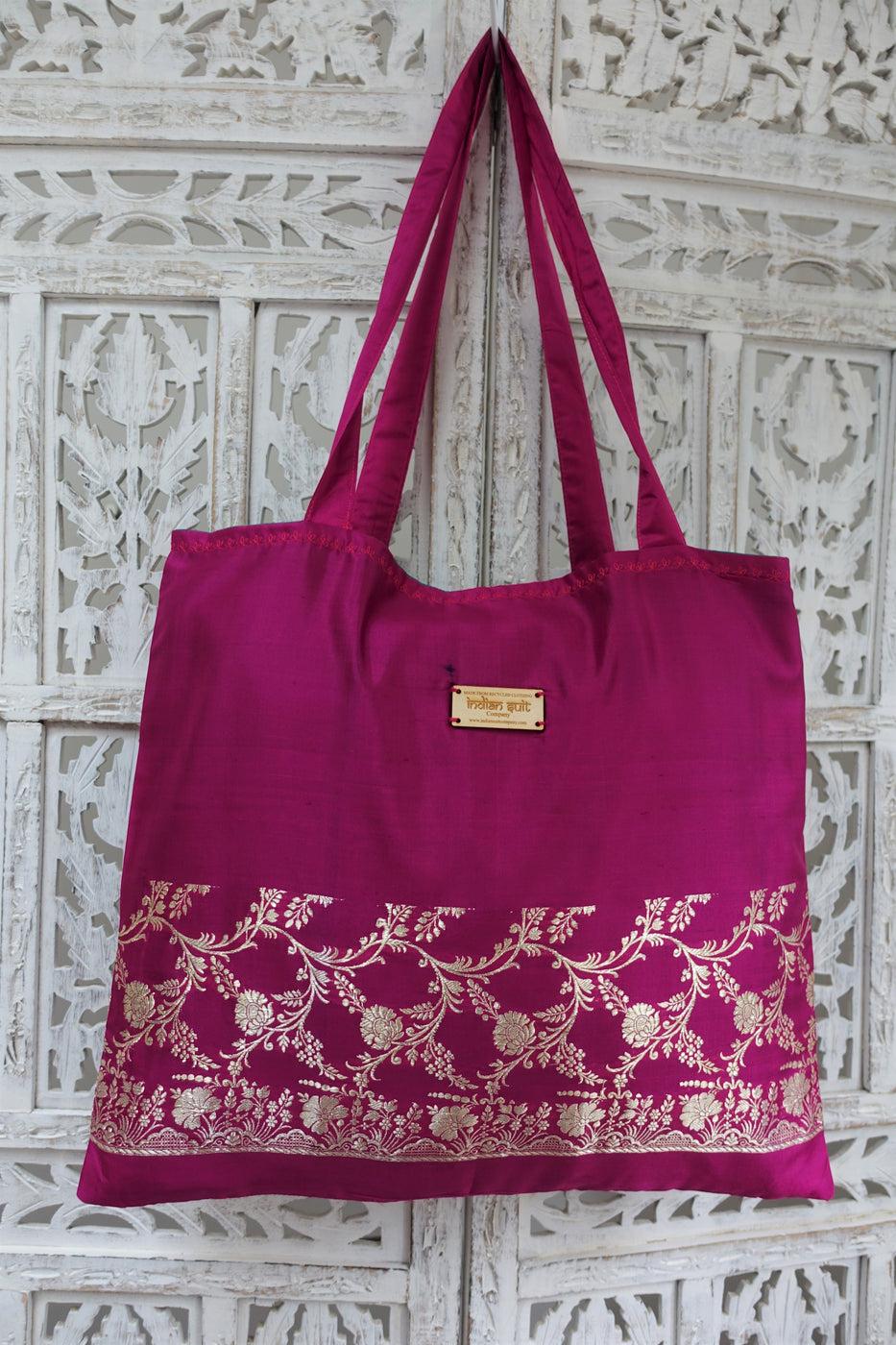 Magenta Vintage Silk Large Tote Bag - Indian Suit Company
