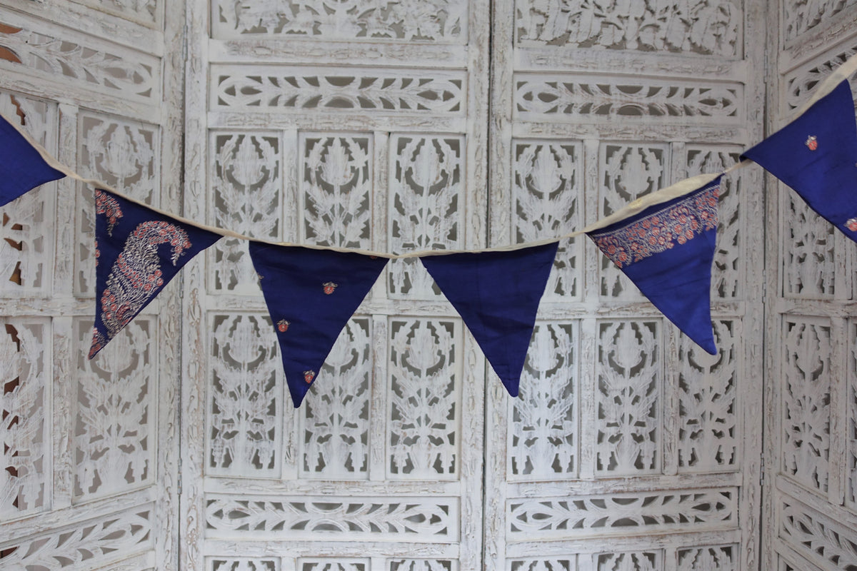 Blue Silk Vintage Bunting - 3 Metres - Indian Suit Company
