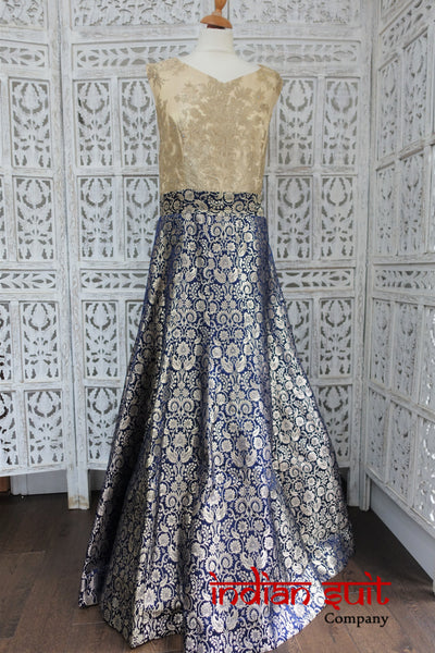 Navy & Cream Blue Indian Banarsi Brocade Gown - Size UK /20 EU 46 - Indian Suit Company