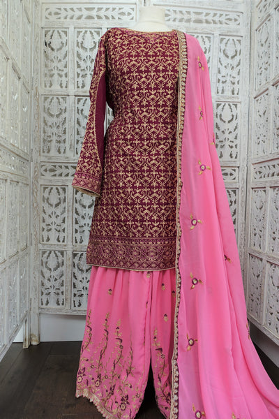 Plum & pink sharara ghagara - UK 10 / EU 36 - New - Indian Suit Company