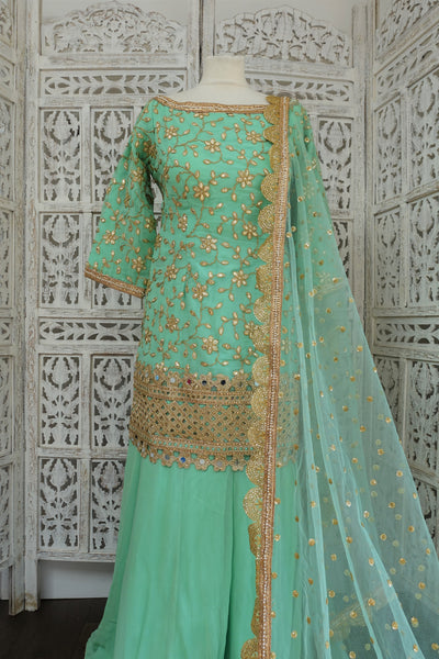 Mint Green Ghagara - Preloved UK 16 / EU 42 - Indian Suit Company