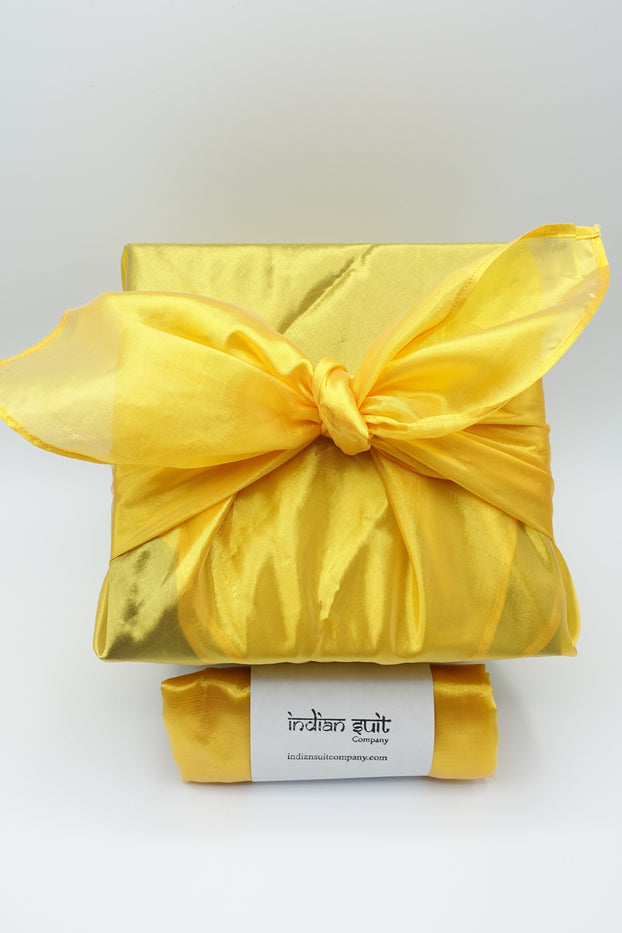 Bright Yellow Vintage Silk Blend Giftwrap - Indian Suit Company