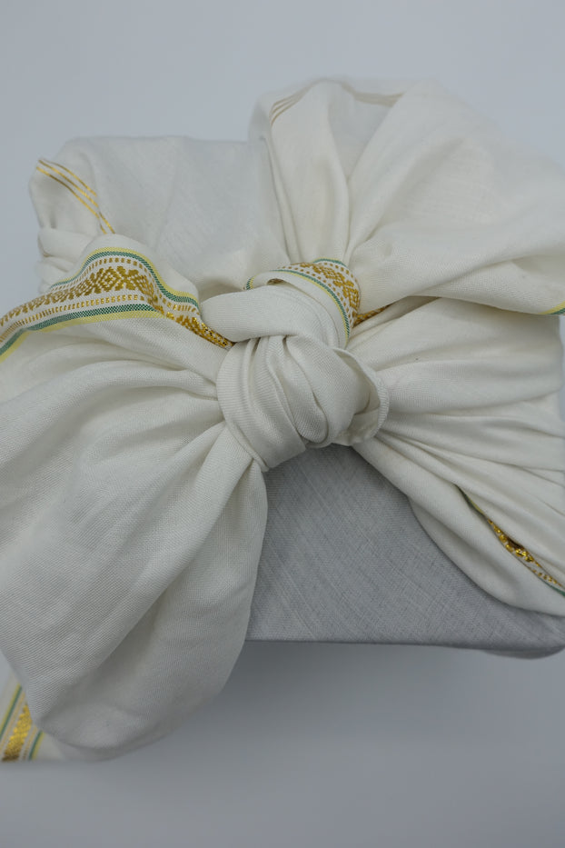 Off Cream Cotton Blend With Gold Trim Giftwrap - Large - Indian Suit Company