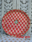 Red brocade covered wedding tray - New
