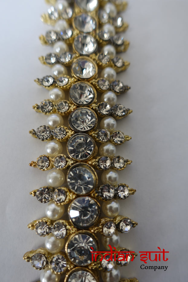 Gold And Pearl Diamante Trim For Kameez - New - Indian Suit Company