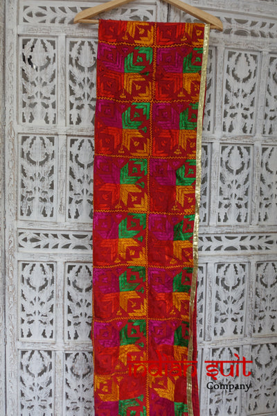 Red Cotton Traditional Phulkari Blanket  - New