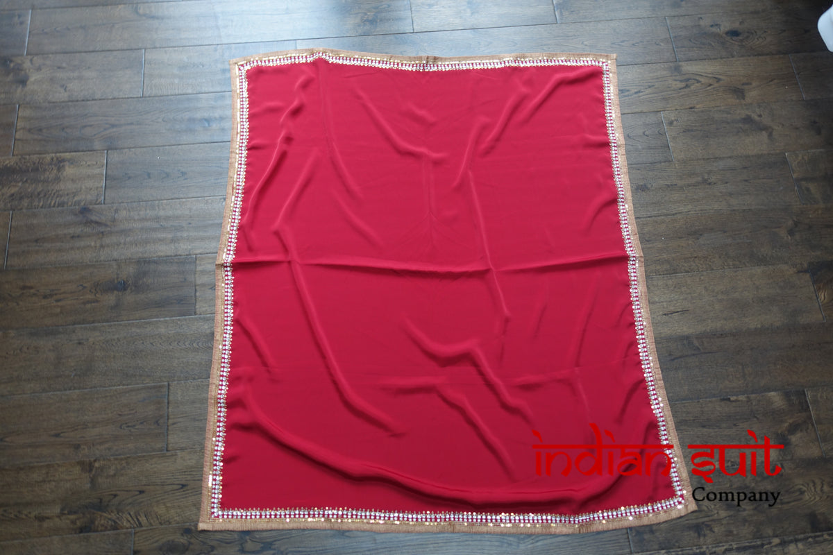 Crepe Silk Red Hand Embellished Ethnic Tablecloth - Indian Suit Company