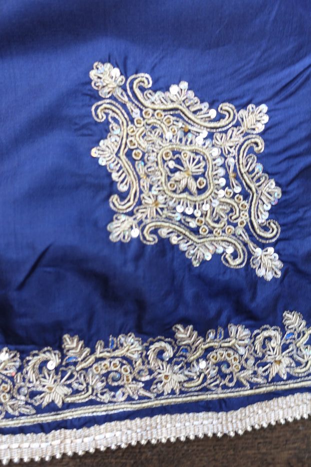 Blue Pure Silk Hand Embellished Ethnic Tablecloth Cover - Indian Suit Company