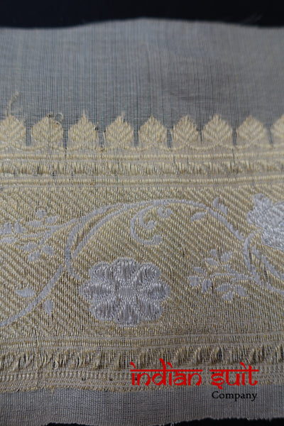 Cream Sari Vintage Banarsi Trim - Preloved - Indian Suit Company