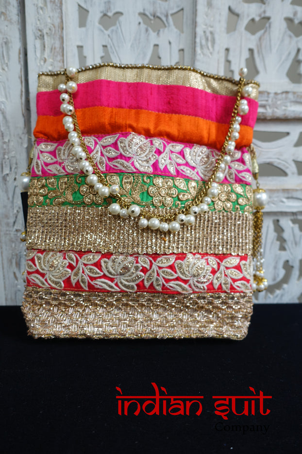 Orange & Bright Pink Raw Silk Beaded Potli Bag - New - Indian Suit Company
