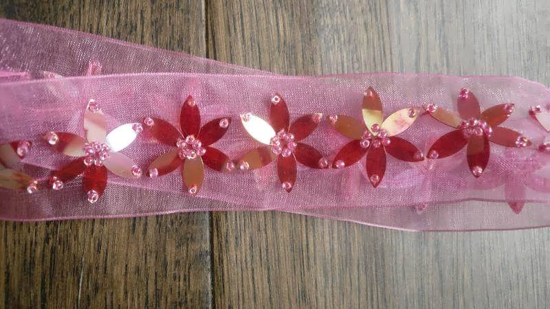 Pink Floral Shape Beaded Trim - New - Indian Suit Company