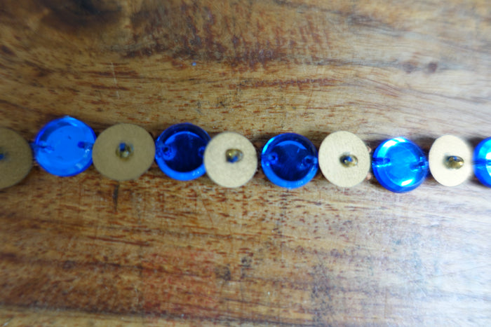 Blue & Matt Gold Beaded Trim 9.5 Metres - New - Indian Suit Company