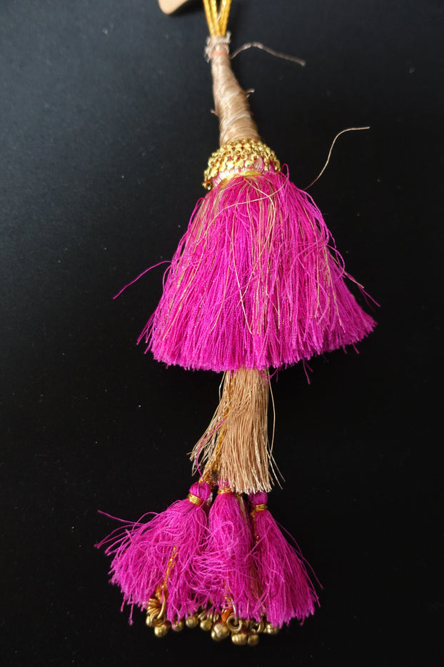 Pink & Gold Large Latkans - New - Indian Suit Company