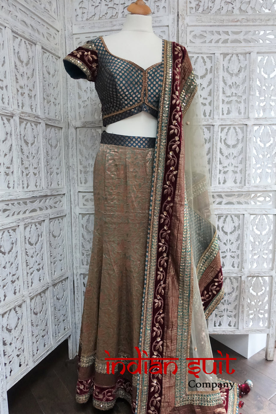 Teal & Sage Green Banarsi Brocade & Silk Lengha - UK 6 / EU 32 - Preloved - Indian Suit Company