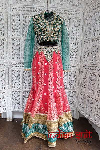 Green Velvet & Coral Lengha Choli - UK 6 / EU 32 - Preloved - Indian Suit Company