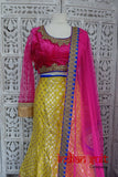 Pink, Yellow Bollywood Indian Choli Lengha - UK 14 / EU 40 - Preloved - Indian Suit Company