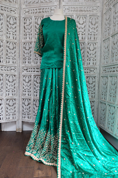Emerald Green Vintage Pure Silk Zardosi Wedding Lengha UK 14 / EU 40 - New - Indian Suit Company